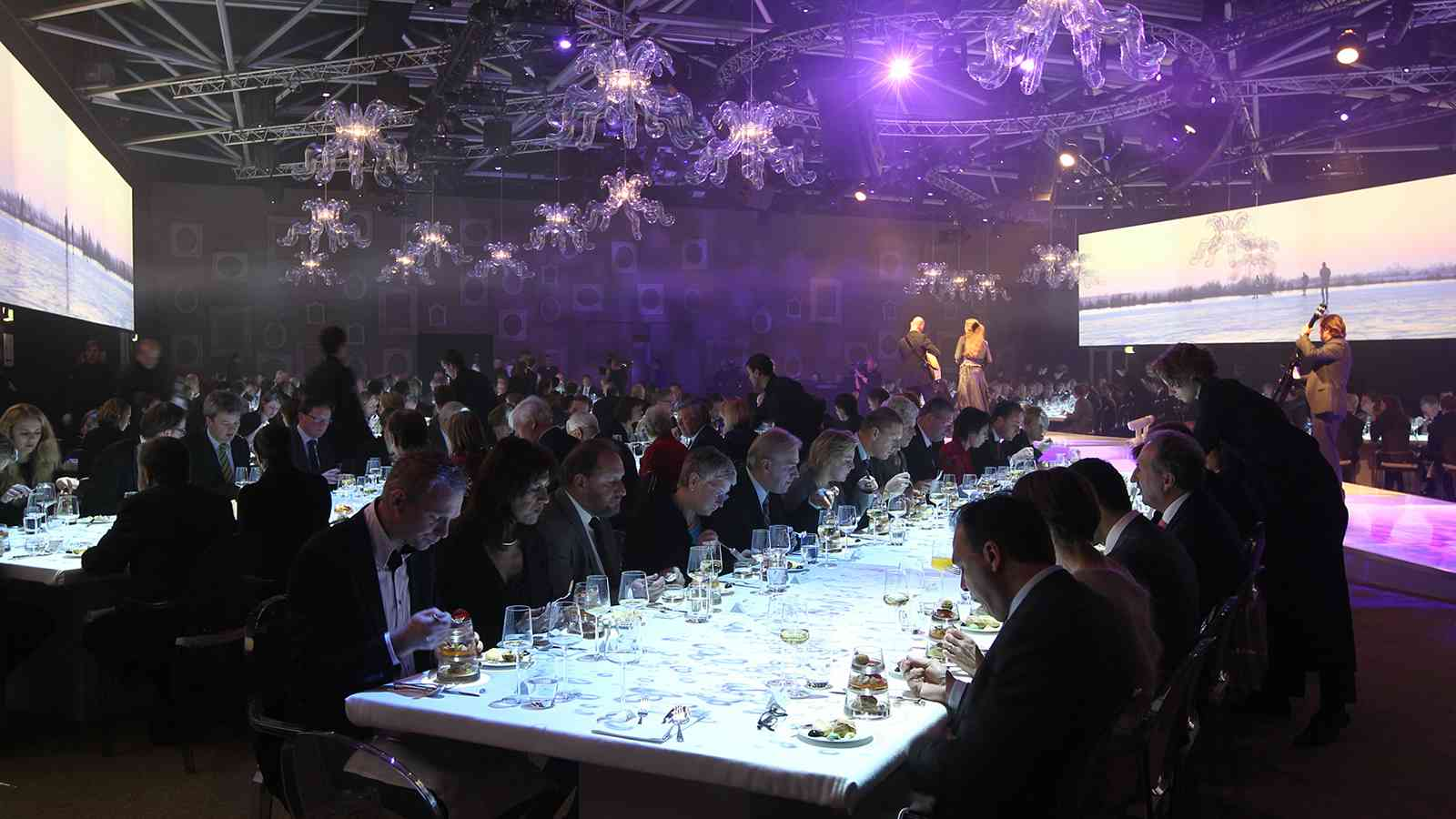 Galad Dinner Event | Moody visuals projection on dinner tables at Gala Dinner Event